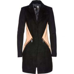 Płaszcz żakietowy bonprix czarno-brzoskwiniowy. Czarne płaszcze damskie bonprix. Za 229,99 zł.
