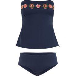 Tankini (2 części), zrównoważony produkt bonprix ciemnoniebieski. Niebieskie bikini bonprix, z haftami. Za 129,99 zł.