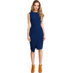 JAIRA Sukienka bez rękawów z asymetrycznym rozcięciem z przodu - granatowa. Niebieskie sukienki Stylove, s, klasyczne, z asymetrycznym kołnierzem, bez rękawów, asymetryczne. Za 179,90 zł.