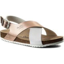 Sandały PEPE JEANS - Bio Cross PGS90098  White 800. Białe sandały dziewczęce marki Pepe Jeans, z jeansu. Za 189,00 zł.