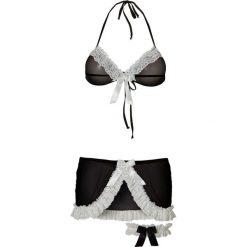 Biustonosz + spódniczka + podwiązka (3 części) bonprix czarno-biały. Czarne biustonosze bardotka bonprix, z koronki. Za 74,99 zł.