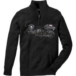 Sweter ze stójką Regular Fit bonprix czarny. Czarne golfy męskie marki bonprix, l, z aplikacjami. Za 74,99 zł.