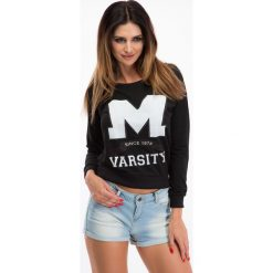 Bluzy damskie: Czarna Bluza z białym napisem F212