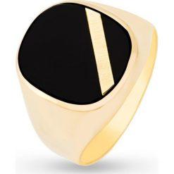 Pierścionek Złoty - złoto żółte 585, Onyks. Żółte sygnety męskie marki W.KRUK, złote. Za 2990,00 zł.