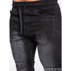 SPODNIE MĘSKIE JEANSOWE JOGGERY P481 - CZARNE. Czarne joggery męskie marki Ombre Clothing, m, z bawełny, z kapturem. Za 84,00 zł.
