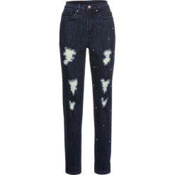 Dżinsy MOM z ćwiekami i przetarciami bonprix ciemny denim. Niebieskie jeansy mom damskie bonprix. Za 59,99 zł.