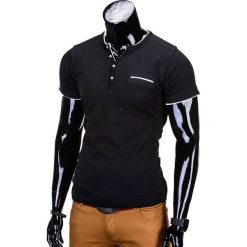 T-shirty męskie: T-SHIRT MĘSKI BEZ NADRUKU S681 – CZARNY