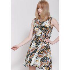 Sukienki: Czarno-Pomarańczowa Sukienka Organic Plants
