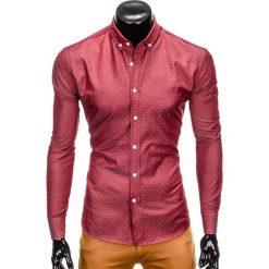 KOSZULA MĘSKA Z DŁUGIM RĘKAWEM K407 - BORDOWA. Czerwone koszule męskie na spinki Ombre Clothing, m, z kontrastowym kołnierzykiem, z długim rękawem. Za 29,00 zł.