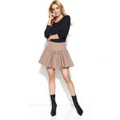 Spódniczki: Cappuccino Rozkloszowana Mini Spódnica z Wysokim Stanem