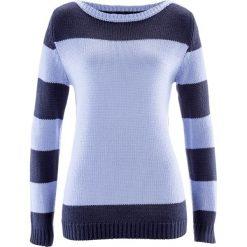 Swetry klasyczne damskie: Sweter bonprix niebieski perłowy – ciemnoniebieski
