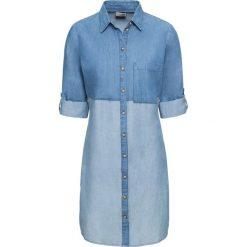 """Sukienka szmizjerka bonprix niebieski """"bleached"""". Niebieskie sukienki na komunię marki bonprix, plisowane. Za 99,99 zł."""