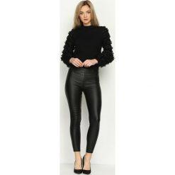 Rurki damskie: Czarne Spodnie Black As Tar