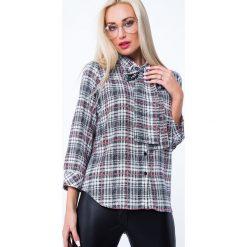Koszula w kratę z wiązaniem kremowo-czarna MP26016. Białe koszule wiązane damskie marki Fasardi, l. Za 59,00 zł.