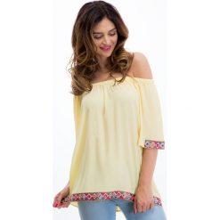 Żółta bluzka z aplikacjami 8508. Żółte bluzki z odkrytymi ramionami Fasardi, l, z aplikacjami. Za 55,20 zł.