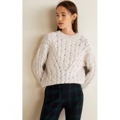 Mango - Sweter Trenzo. Szare swetry klasyczne damskie Mango, l, z dzianiny, z okrągłym kołnierzem. Za 159,90 zł.