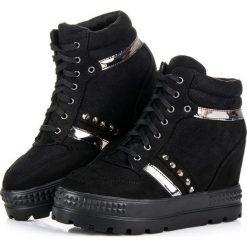Sneakersy damskie: SNEAKERSY NA PLATFORMIE Bestelle czarne
