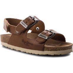 Sandały męskie skórzane: Sandały PEPE JEANS – Bio Basic Kids PBS90028 Tan 869
