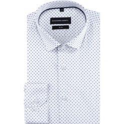 Koszula SIMONE slim KDBS000425. Białe koszule męskie na spinki Giacomo Conti, na lato, m, w geometryczne wzory, z bawełny, z klasycznym kołnierzykiem, z długim rękawem. Za 199,00 zł.