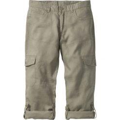 Spodnie lniane bojówki z wywijanymi nogawkami Regular Fit bonprix khaki. Zielone bojówki męskie bonprix. Za 129,99 zł.
