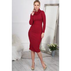 Sukienki: Bordowa Sukienka z Golfem BB5459