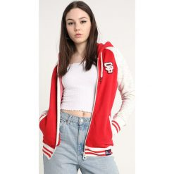 Bluzy damskie: Superdry COLLEGE PATCH ZIP HOOD Bluza rozpinana oatmeal/tailgate red