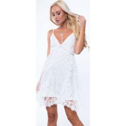 Sukienka koronkowa tiulowa krem ZZ259. Szare sukienki Fasardi, l, z koronki. Za 103,20 zł.