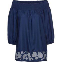 """Bluzka """"carmen"""" z haftem bonprix kobaltowy. Czarne bluzki z odkrytymi ramionami marki Molly.pl, l, w kratkę, z tkaniny, z kokardą. Za 79,99 zł."""