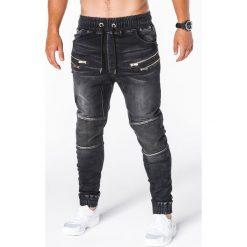 SPODNIE MĘSKIE JEANSOWE JOGGERY P405 - CZARNE. Czarne joggery męskie marki Ombre Clothing, m, z bawełny, z kapturem. Za 79,00 zł.