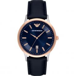Zegarek EMPORIO ARMANI - Renato AR2506 Blue/Rose Gold. Szare zegarki męskie marki Emporio Armani, l, z nadrukiem, z bawełny, z okrągłym kołnierzem. Za 809,00 zł.