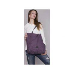 Fioletowa torba basic. Fioletowe torebki klasyczne damskie drops, w paski, z bawełny. Za 75,20 zł.