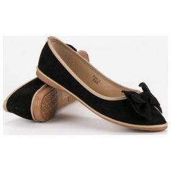 Baleriny damskie: Zamszowe baleriny z kokardką SWEET SHOES czarne
