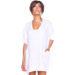 """Bluzki damskie: Lniana koszulka """"Maya"""" w kolorze białym"""