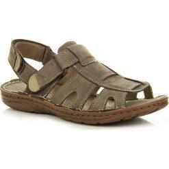Sandały męskie skórzane: Taupe skórzane sandały męskie lekkie komfortowe Rafado