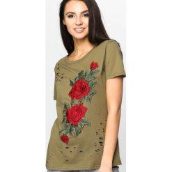 Khaki T-shirt Inside Garden. Brązowe bluzki asymetryczne Born2be, m. Za 34,99 zł.