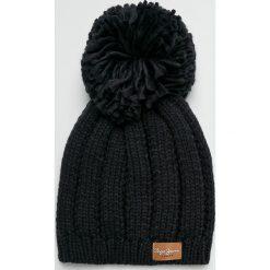Pepe Jeans - Czapka Elissa. Czarne czapki zimowe damskie Pepe Jeans, z dzianiny. Za 99,90 zł.