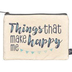 """Kosmetyczki damskie: Kosmetyczka """"Happy me- Things"""" w kolorze kremowo-miętowym- 22,5 x 16,5 cm"""