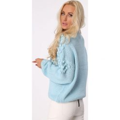 Golfy damskie: Sweter z golfem i pomponami niebieski MISC217