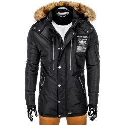 KURTKA MĘSKA ZIMOWA PARKA C360 - CZARNA. Czarne kurtki męskie zimowe Ombre Clothing, m, z kapturem. Za 189,00 zł.
