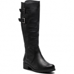 Oficerki CAPRICE - 9-26600-21 Black Nappa 022. Czarne buty zimowe damskie Caprice, z materiału, na obcasie. W wyprzedaży za 359,00 zł.