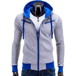 Bluzy męskie: BLUZA MĘSKA ROZPINANA Z KAPTUREM AMIGO – SZARO-NIEBIESKA