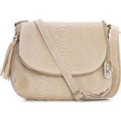 Torebki klasyczne damskie: Skórzana torebka w kolorze beżowym – 28 x 20 x 8 cm