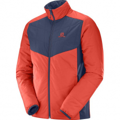 """Kurtka funkcyjna """"Drifter"""" w kolorze granatowo-czerwonym. Szare kurtki męskie marki Salomon, z gore-texu, na sznurówki, outdoorowe, gore-tex. W wyprzedaży za 318,95 zł."""