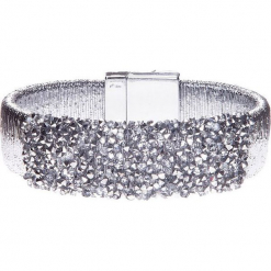 Szeroka srebrna błyszcząca bransoletka QUIOSQUE. Szare bransoletki damskie na nogę marki QUIOSQUE, srebrne. Za 39,99 zł.