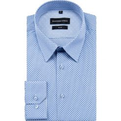 Koszula SIMONE slim KDNS000400. Niebieskie koszule męskie na spinki marki bonprix, m, z nadrukiem, z klasycznym kołnierzykiem, z długim rękawem. Za 149,00 zł.