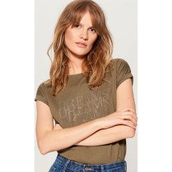 Koszulka z dżetami - Khaki. Brązowe t-shirty damskie Mohito, l. Za 39,99 zł.