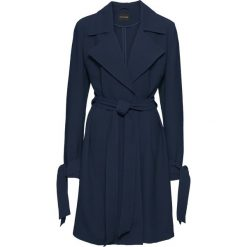 Płaszcz kopertowy, bez podszewki bonprix ciemnoniebieski. Niebieskie płaszcze damskie bonprix, eleganckie. Za 79,99 zł.