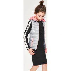 Odzież dziewczęca: Pikowana kamizelka z odczepianym kapturem - Jasny szar