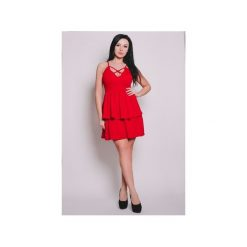 LARISSA  SUKIENKA PODWÓJNIE ROZKLOSZOWANA CZERWONA. Czerwone sukienki na komunię Aile, s, w paski, z materiału, rozkloszowane. Za 219,00 zł.