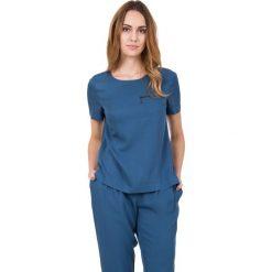Bluzki asymetryczne: Granatowa luźna bluzka z krótkim rękawem  BIALCON